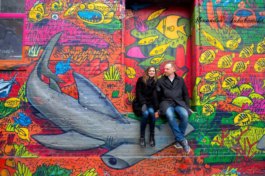 Engagement session at The Graffiti Alley Toronto