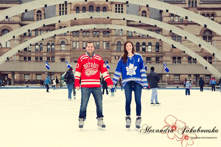 Engagement session at Nathan Phillips Square in downtown Toronto
