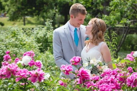 wedding couple in garden in Hamilton